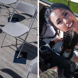 (Left) Graduation programs rest underneath folding chairs at Soldier Field. (Right) Vanessa Tran holds a photo of her sister Katylnn Tran, a senior at Whitney M. Young Magnet High School, to shade herself from the sun at the graduation ceremony at Soldier Field on Wednesday afternoon.
