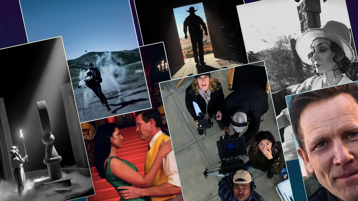 Graphic grid featuring seven screen shots of scenes shot in the vertical (portrait) format