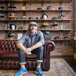 <b> Brian Rouspil</b>, Senior Director of Sales Operations, wearing Asbury Park Jeans, a Groceries Apparel t-shirt, Wallin & Bros Denim shirt, Nike Lunarglide+ 5, and a Goorin Bros. Welder Ivy hat.<br> <b>Which three hat styles should every person own?</