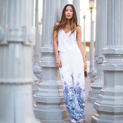 """Aimee of <a href=""""http://songofstyle.blogspot.com/"""">Song of Style</a> is wearingBec & Bridge palazzo pants, an <a href=""""http://www.barneys.com/ATM-Anthony-Thomas-Melillo-Henley-Tank/00505027474617,default,pd.html?zmam=51982951&zmas=1&zmac=1&zmap=00505027"""
