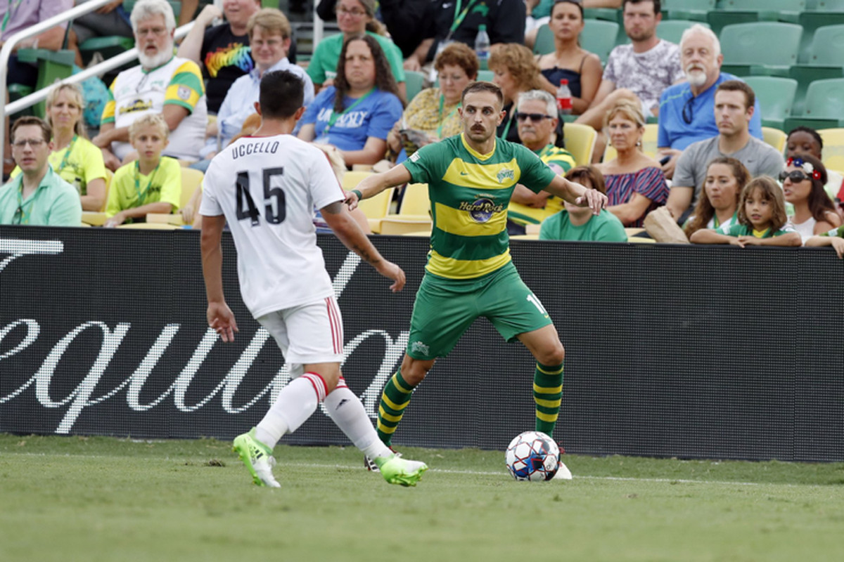 USL Photo - Toronto FC II's Luca Uccello closes down a Tampa Bay Rowdies attacker on Independence Day in Florida