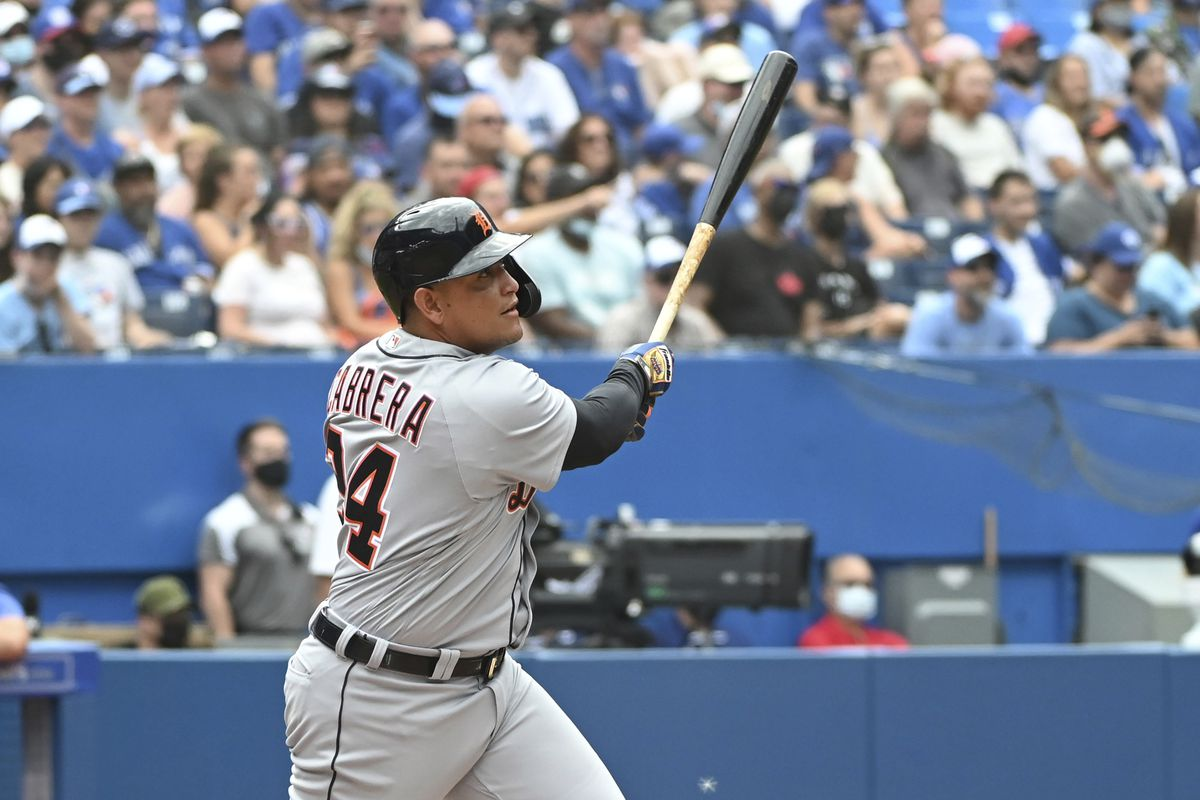 The Detroit Tigers' Miguel Cabrera watches his 500th career home run Sunday against the Blue Jays in Toronto.