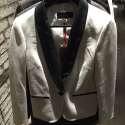 Tuxedo jacket in ivory black ponte, $175  (was $304)