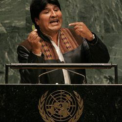 FILE- In this Tuesday, Sept. 19, 2006 file photo, Bolivian president Evo Morales holds up a coca leaf as he addresses the 61st session of the United Nations General Assembly at U.N. headquarters, Tuesday, Sept. 19, 2006.  Israeli Prime Minister Benjamin Netanyahu's use of a cartoon-like drawing of a bomb to convey a message over Iran's disputed nuclear program this week, follows in a long and storied tradition of leaders and diplomats using props to make their points at the United Nations.