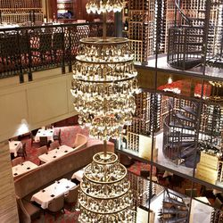 a look at the stunning chandelliers and 47 foot wine tower