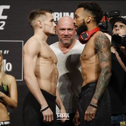 Nathaniel Wood and Andre Ewell square off at UFC 232 weigh-ins.