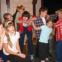 """Actors in their roles as the notorious Herdman family in the West Jordan Theater Arts Council production of """"The Best Christmas Pageant Ever."""""""