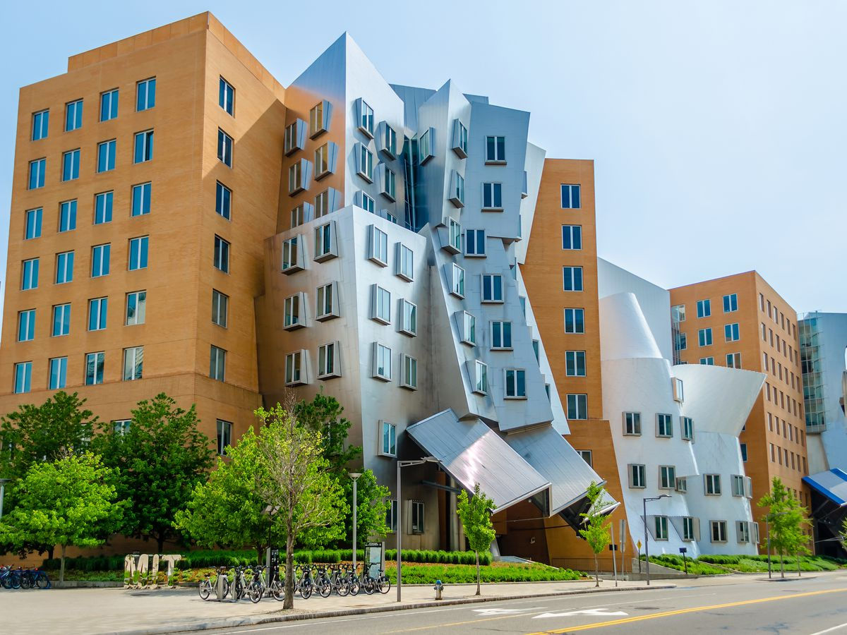 The exterior of the M.I.T. Stata Center. The facade is angled and sloped.
