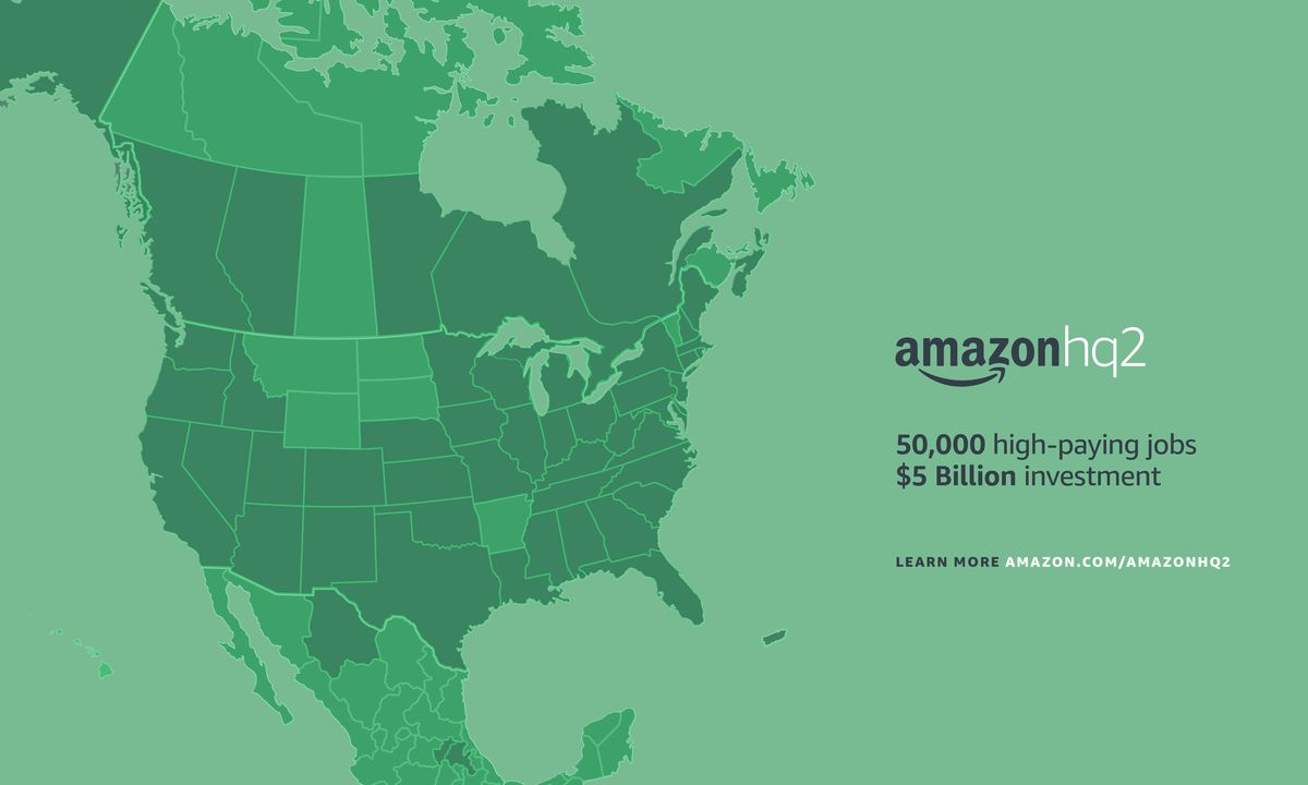 Amazon headquarters map of proposals