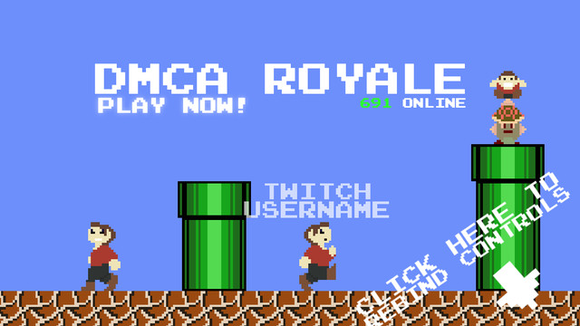 Infringio and Copyright Infringio on the opening screen of <em>DMCA Royale</em>