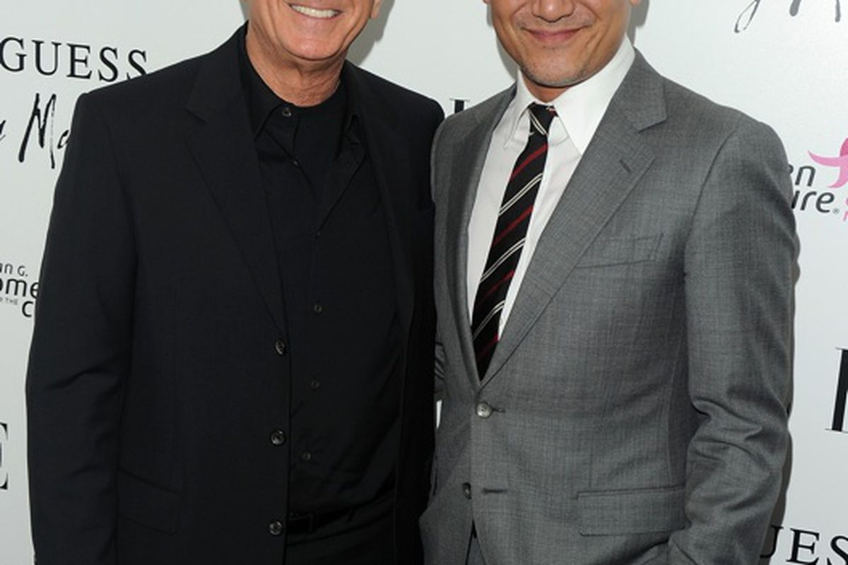 Maurice Marciano with Joe Zee at an Elle & Guess event last year (Getty Images)