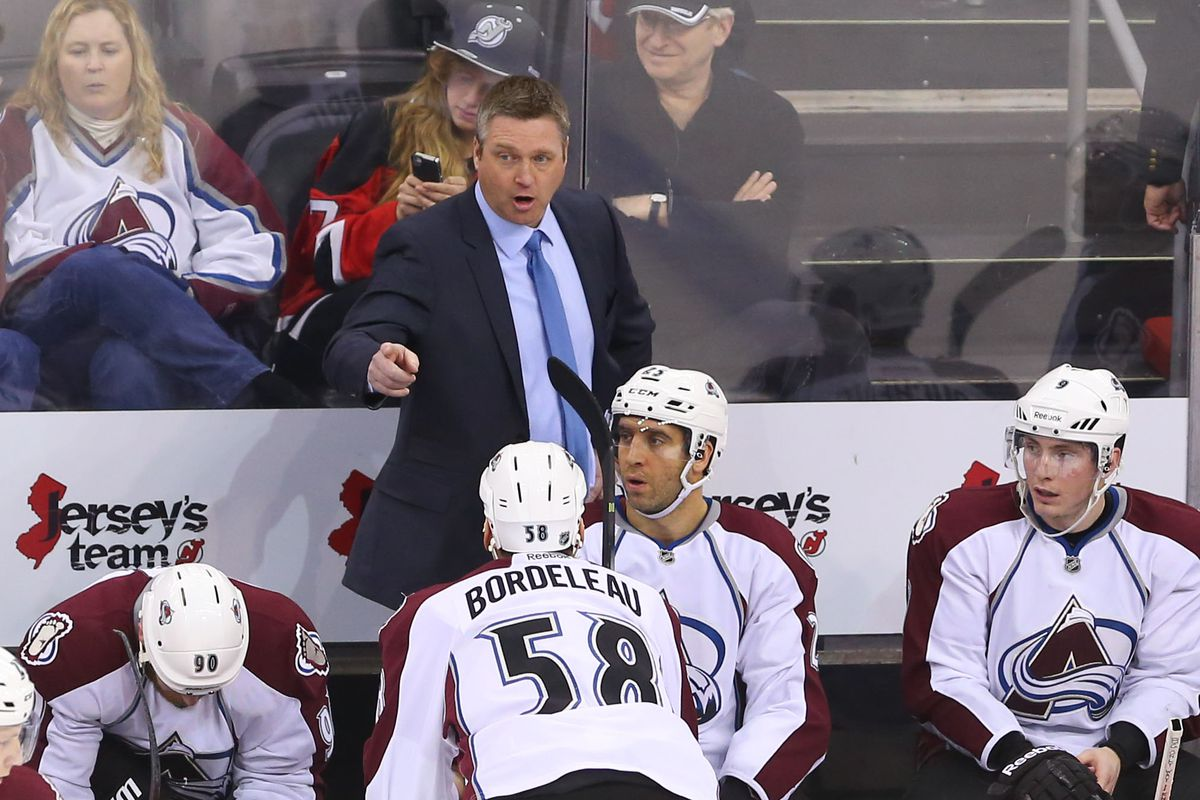 In lieu of any pictures from tonight's game in the photostream, here is a photo from the last Devils-Avs game.  Imagine a different player, different jerseys, a different bench, and Patrick Roy with a beard and you get the picture.