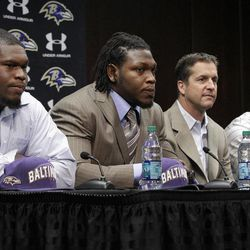 From left to right, Baltimore Ravens guard/tackle Kelechi Osemele, defensive end/outside linebacker Courtney Upshaw, head coach John Harbaugh and running back Bernard Pierce listen to a reporter's question during a news conference to introduce the Raven's NFL football draft picks at the team's training facility in Owings Mills, Md., Saturday, April 28, 2012.
