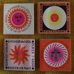 """<b>La Fonda Del Sol</b>: Artist Alexander Girard designed the matchbooks for this splashy Spanish restaurant in Midtown.  They were really popular: a lithograph of the patterns was purchased <a href=""""http://www.sfmoma.org/artwork/119822"""" rel=""""nofollow"""">by"""