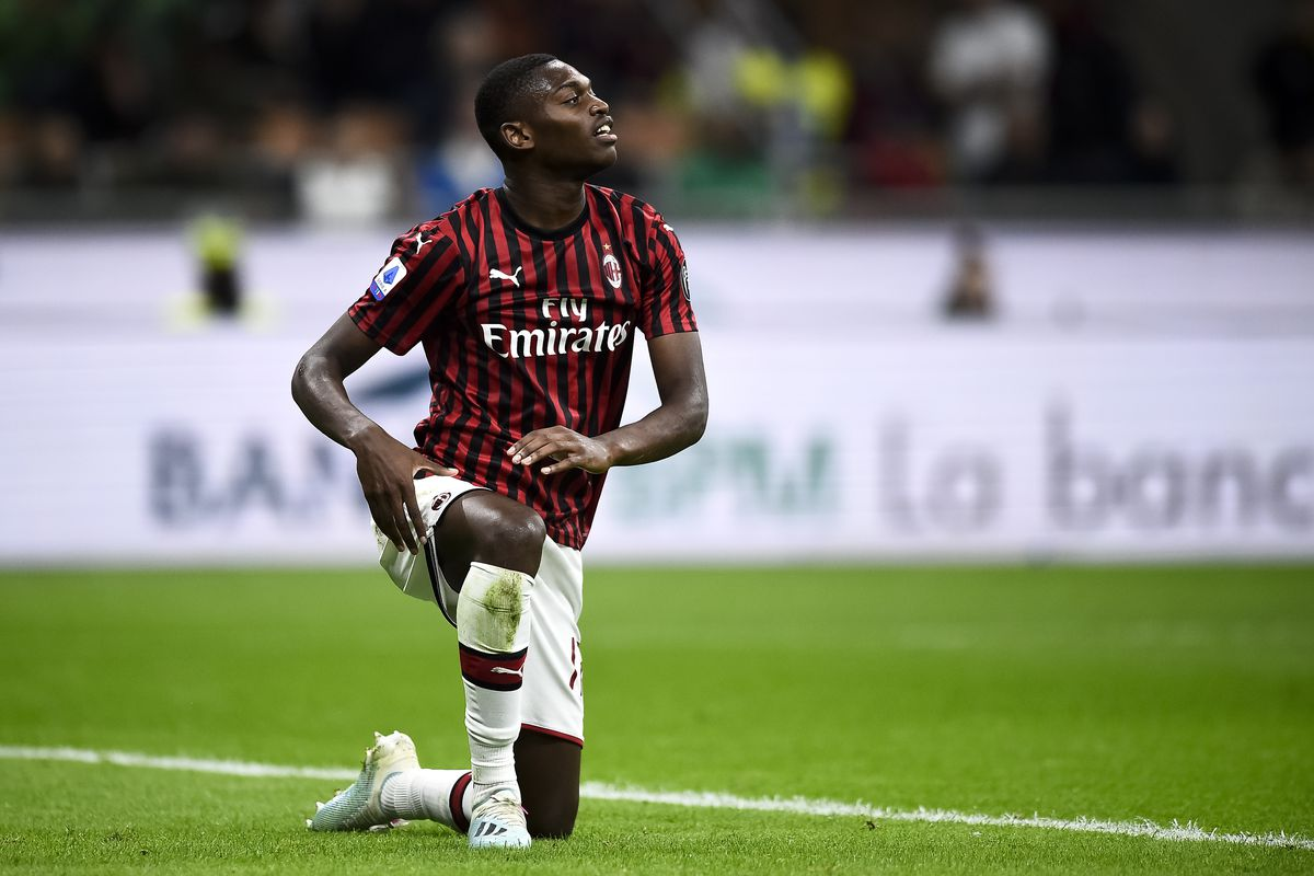 Rafael Leao of AC Milan is on his knees during the Serie A...