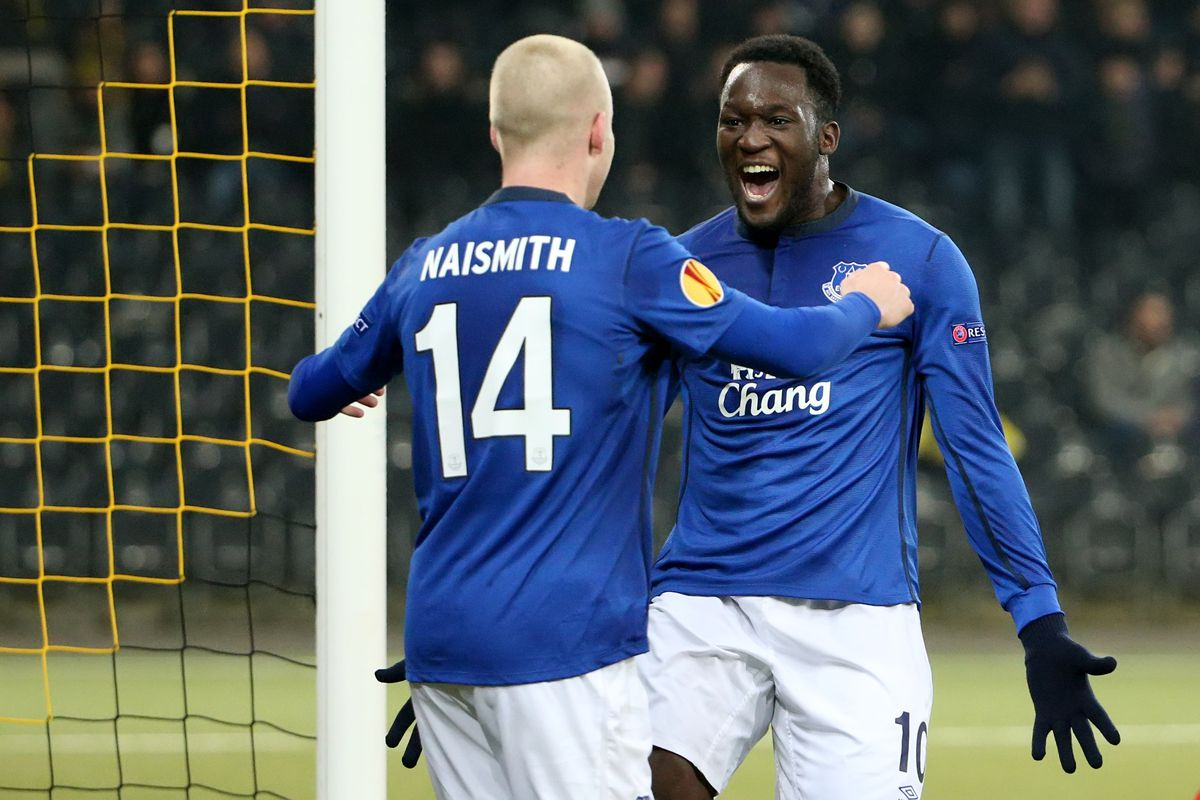 Everton's top two attackers, Steven Naismith and Romelu Lukaku, celebrate a goal in the Europa League.