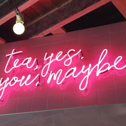 """The tea room's answer to the popular """"But First Coffee"""" slogan."""