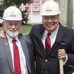 School President David W. Pershing and Jon M. Huntsman stand for a photo as the University of Utah breaks ground Monday, May 5, 2014 on the new Jon M. and Karen Huntsman Basketball Center.