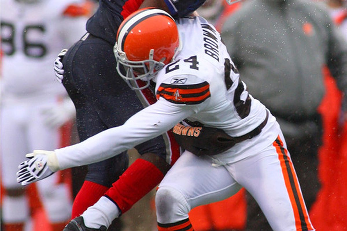 Yes, that's Sheldon Brown body slamming C.J. Spiller. Spiller would later say that he would have owned Brown if not for having had a stomach ache during the game.