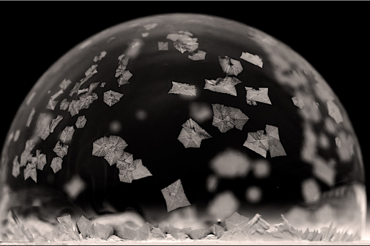A bubble with ice crystals on the surface.
