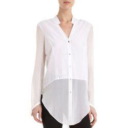 "<b>Helmut Lang</b> Lawn Shirt, <a href=""http://www.barneys.com/Helmut-Lang-Lawn-Shirt/502679079,default,pd.html?cgid=women&index=25"">$295</a> at Barneys"
