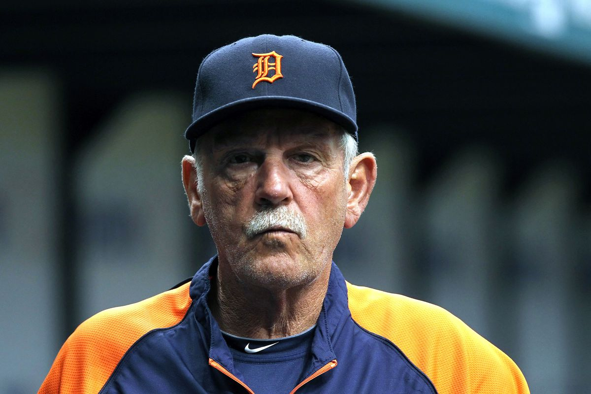July 1, 2012; St. Petersburg, FL, USA; Detroit Tigers manager Jim Leyland (10) against the Tampa Bay Rays at Tropicana Field. Mandatory Credit: Kim Klement-US PRESSWIRE