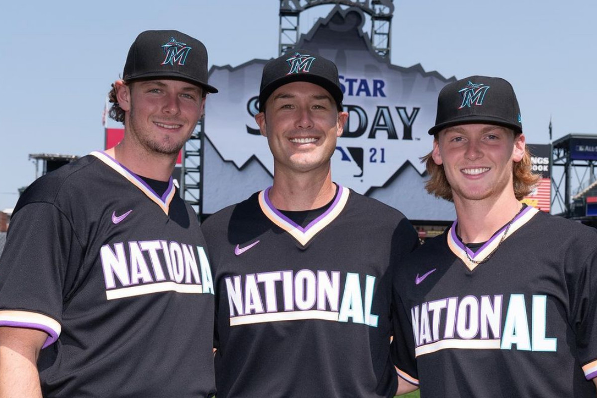 Marlins prospects Jake Eder (left) and Max Meyer (right) pose for a picture prior to the 2021 Futures Game