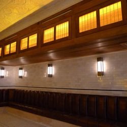 Downstairs features leather banquettes.