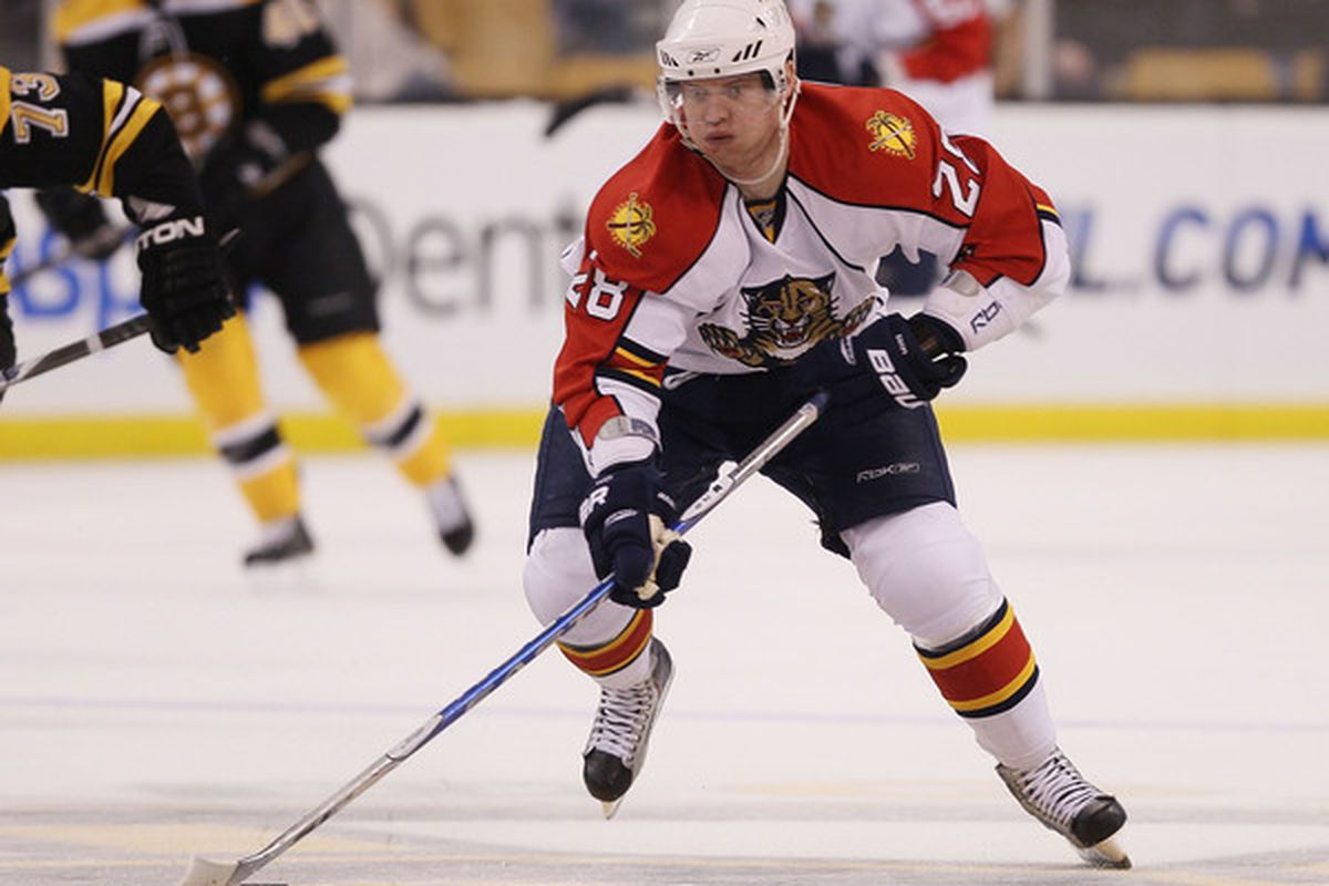 BOSTON - APRIL 01:  Kamil Kreps #28 of the Florida Panthers takes the puck in the first period against the Boston Bruins on April 1, 2010 at the TD Garden in Boston, Massachusetts.  (Photo by Elsa/Getty Images)