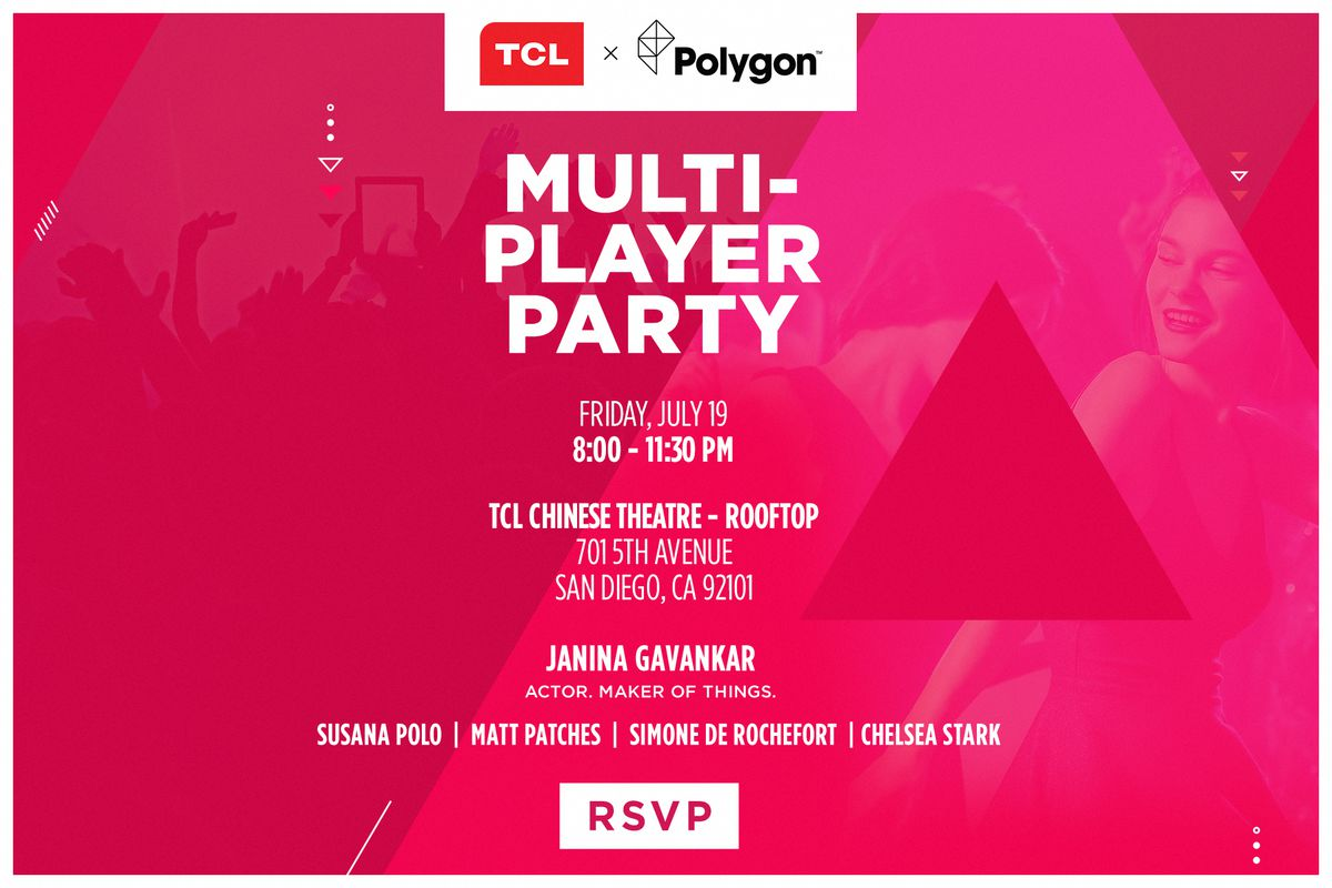 A poster for the TCL x Polygon Multiplayer part for San Diego Comic-Con, with details