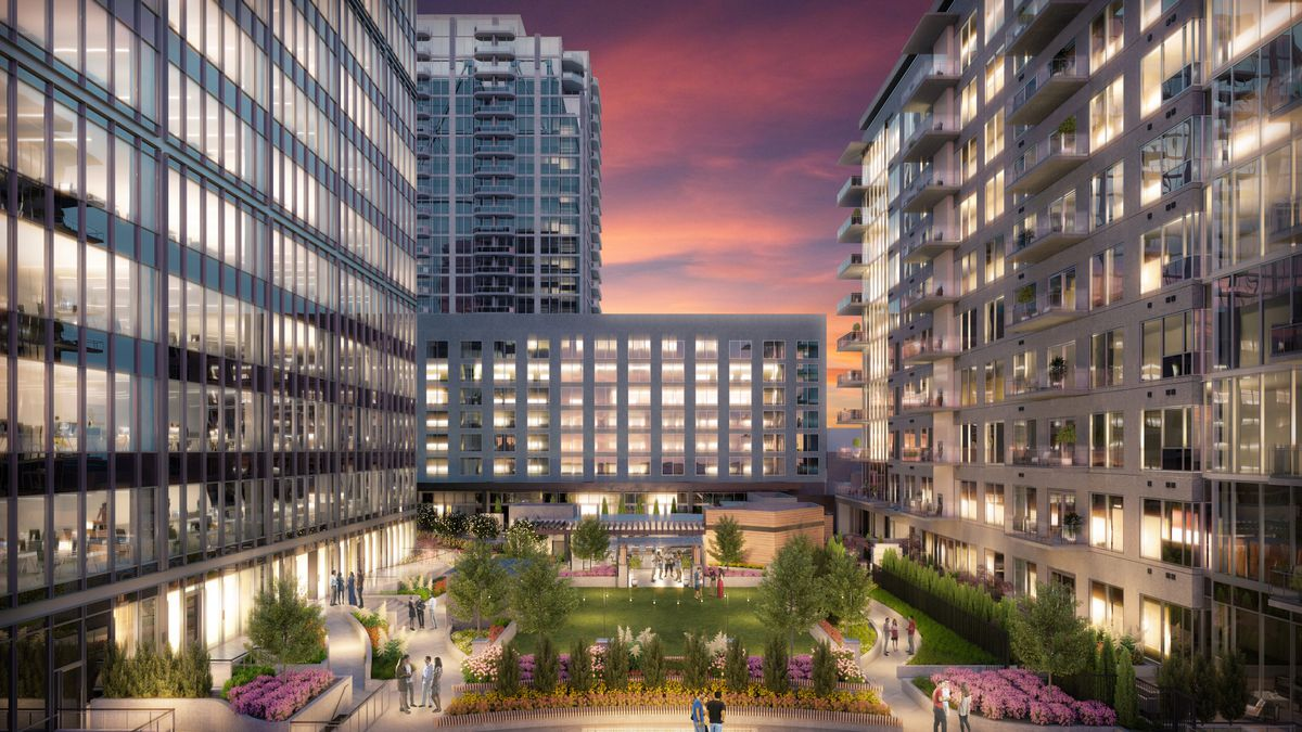 A rendering shows how the project's multiple towers would convene around a ninth-floor amenity deck, which will feature green space and seating.