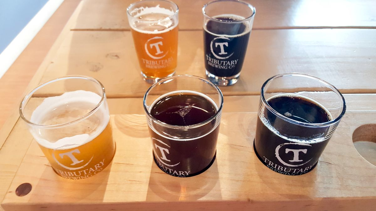 Beer flight at Tributary Brewing Company