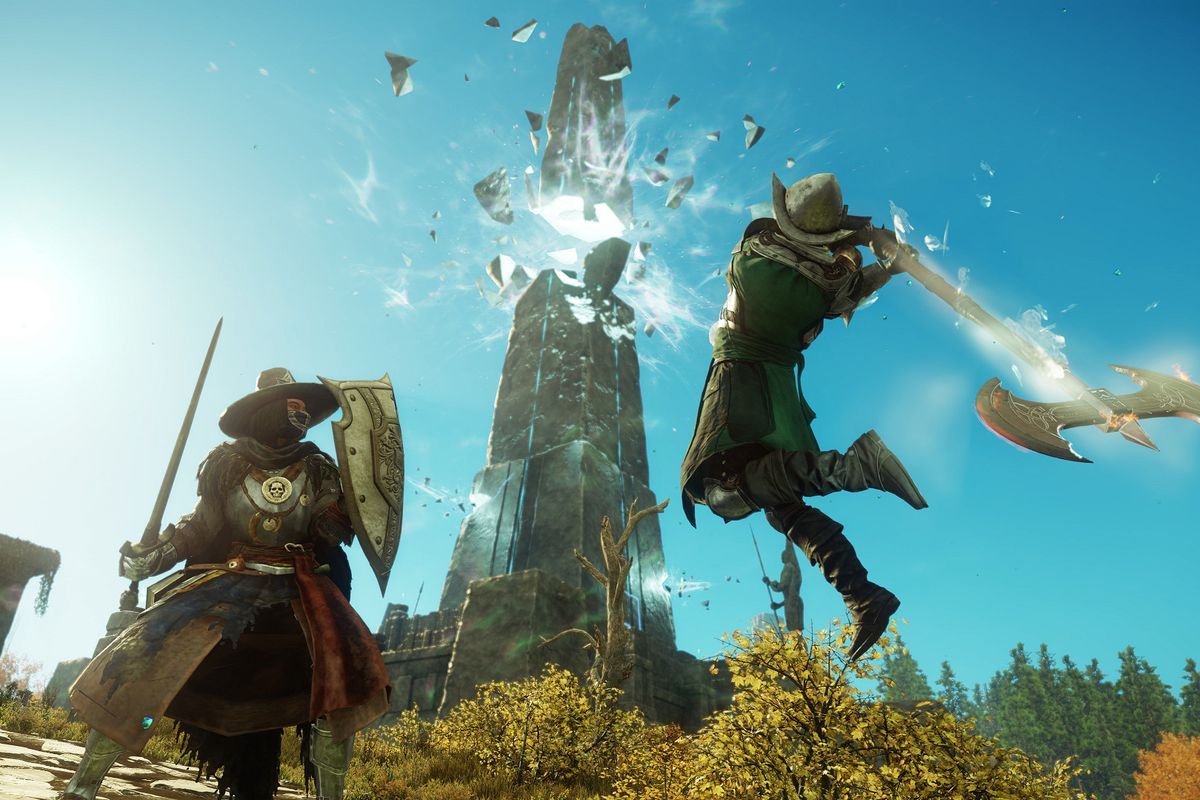 New World - an armored player wielding a giant two-handed axe swings down on an enemy player with a sword and shield. In the background, a magical pillar hangs in suspension mid-shatter.