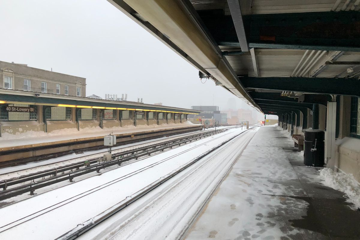The MTA was forced to shut down above-ground subway service while a nor-easter dumped more than a foot of snow across the city Monday, Feb. 1, 2021.
