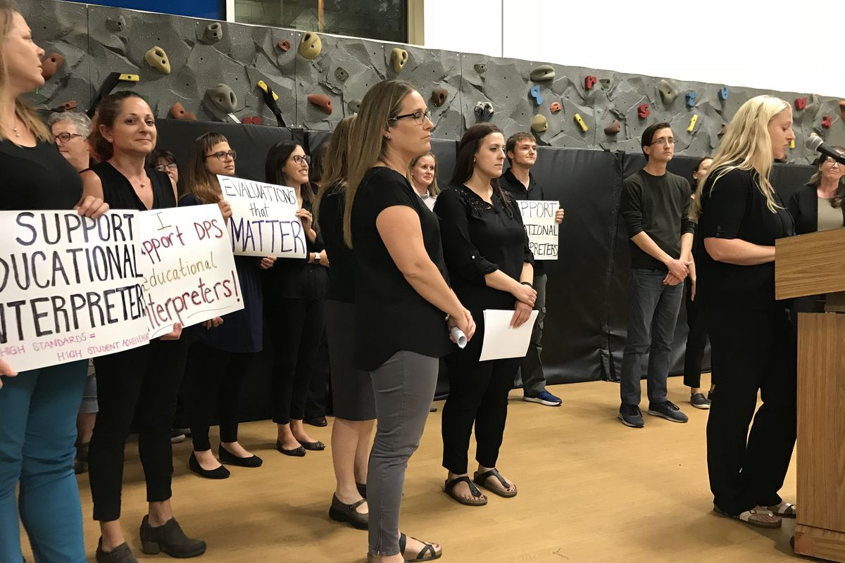 Educational sign language interpreters lobby the Denver school board in September 2018 to recognize their unionization bid.