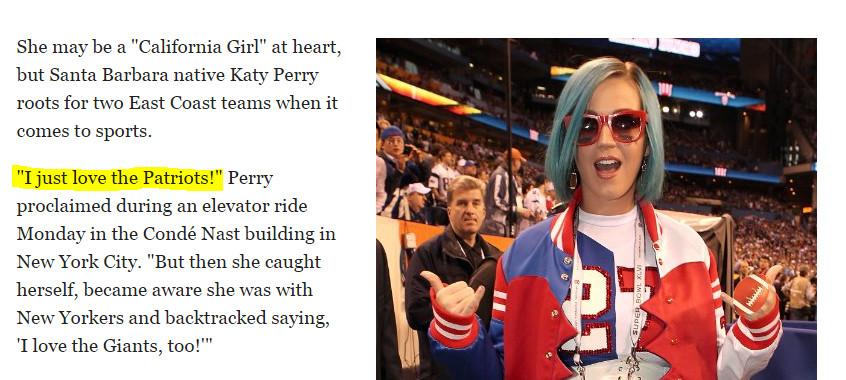 Katy Perry Patriots, Giants