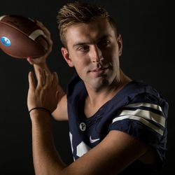 BYU quarterback Kody Wilstead poses for a photo at the school's indoor practice facility in Provo on Wednesday, Aug. 2, 2017.