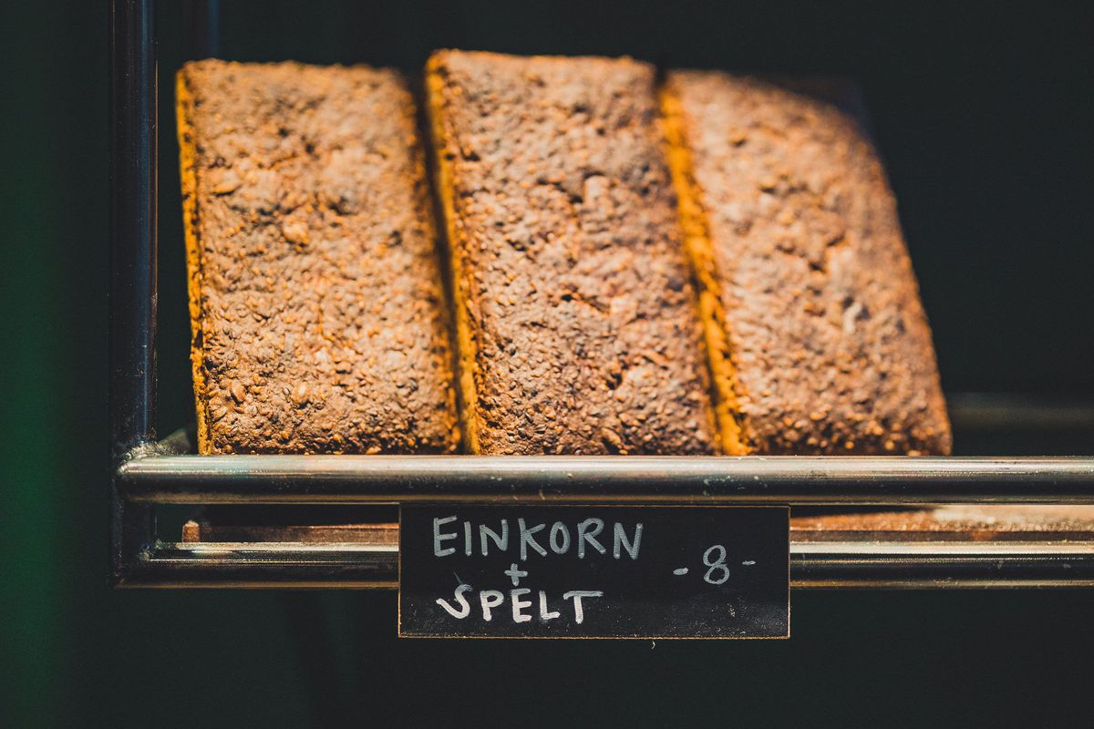 Three einkorn and spelt loaves at Evergreen Butcher and Baker in Kirkwood, Atlanta