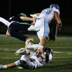 Sky View takes on Ridgeline during a high school football game at Ridgeline High School in Millville on Thursday, Sept. 17, 2020.