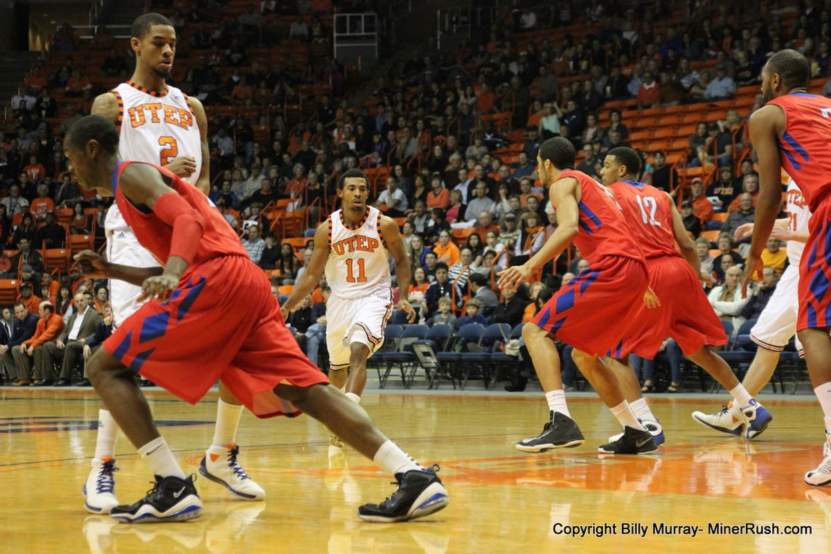 Jacques Streeter drives the ball past a SMU defender on Saturday night January 19th.  The Miners defeated the Mustangs 63-54