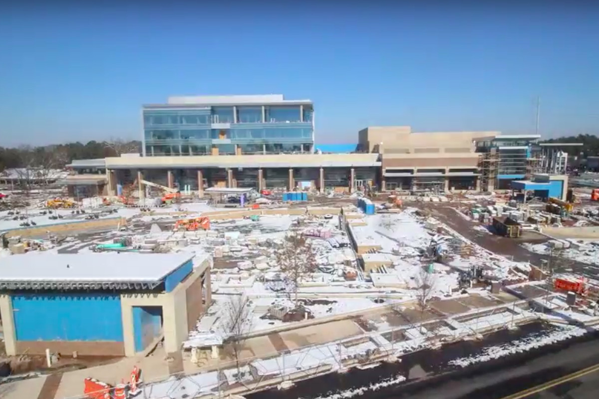 A photo of the under-construction City Springs project blanketed in snow last month.