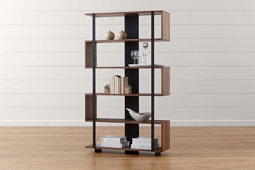 Shelf with zig zag shape.