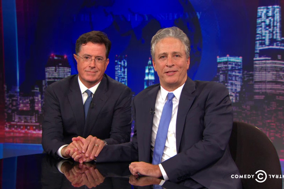 As you might have expected, Stephen Colbert dropped by for Jon Stewart's final Daily Show.