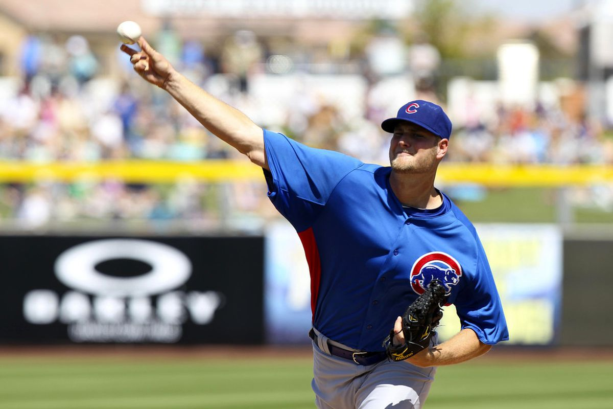 Peoria, AZ, USA; Chicago Cubs pitcher Chris Volstad throws a pitch against the San Diego Padres at the Peoria Sports Complex. Credit: James Guillory-US PRESSWIRE