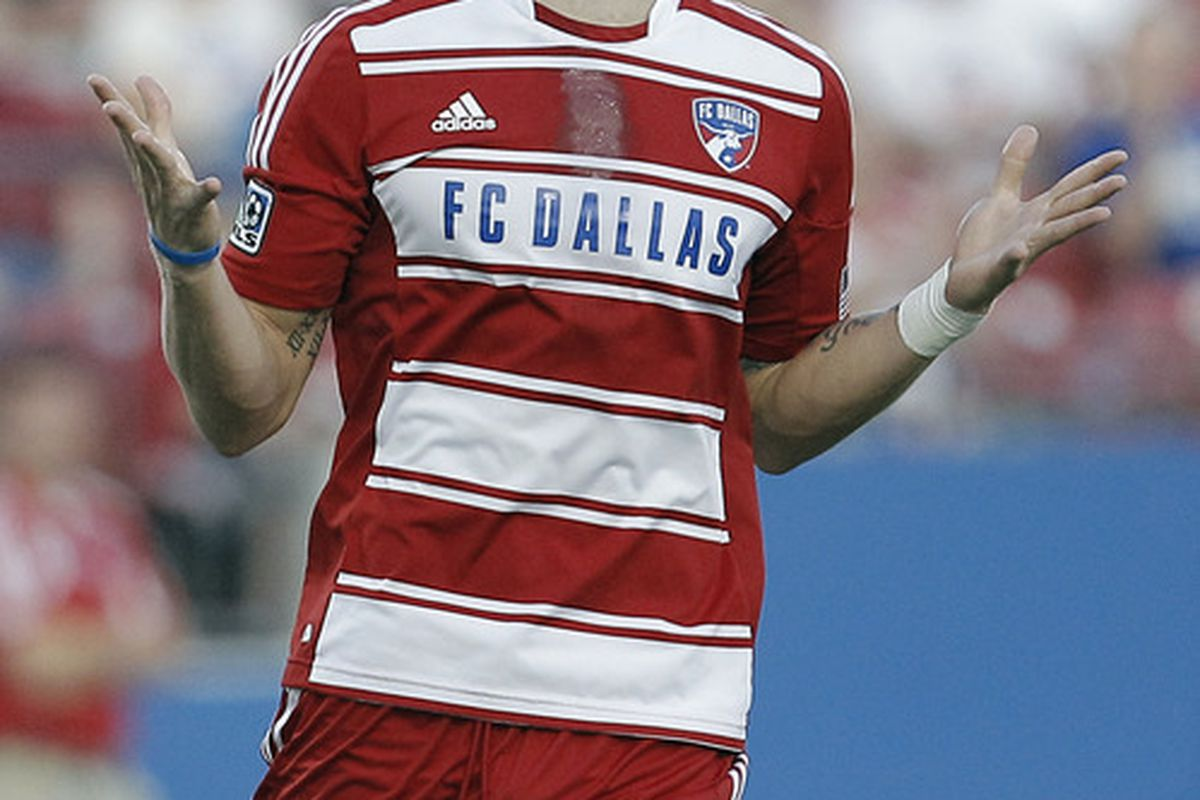FRISCO, TX - JUNE 23: Brek Shea #20 of the FC Dallas reacts after missing a shot on goal during the first half of a soccer game against Chivas USA at FC Dallas Stadium on June 23, 2012 in Frisco, Texas. (Photo by Brandon Wade/Getty Images)