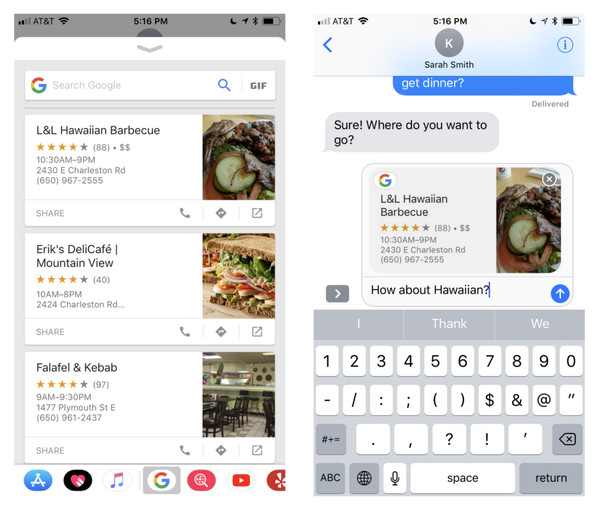 Google for iOS in iMessage