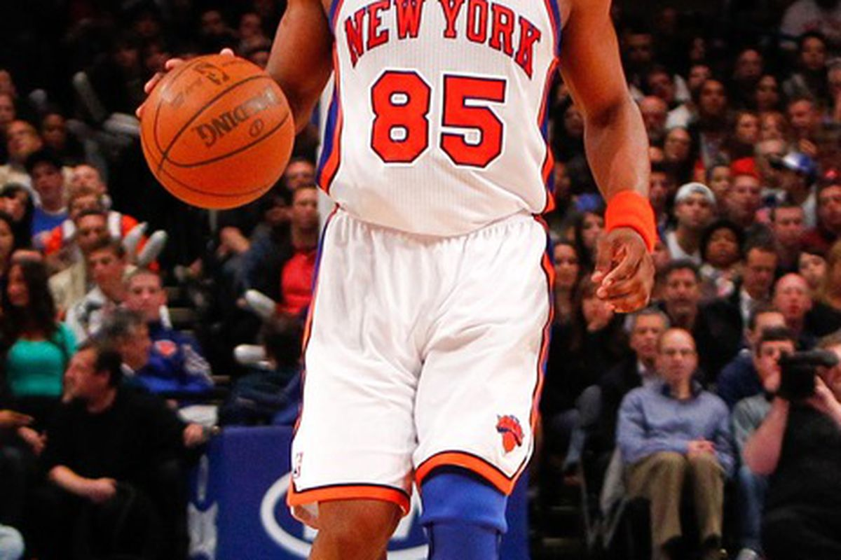 Apr. 13, 2012; New York, NY, USA; New York Knicks point guard Baron Davis (85) dribbles the ball during the second half against the Washington Wizards at Madison Square Garden. Knicks won 103-65. Mandatory Credit: Debby Wong-US PRESSWIRE