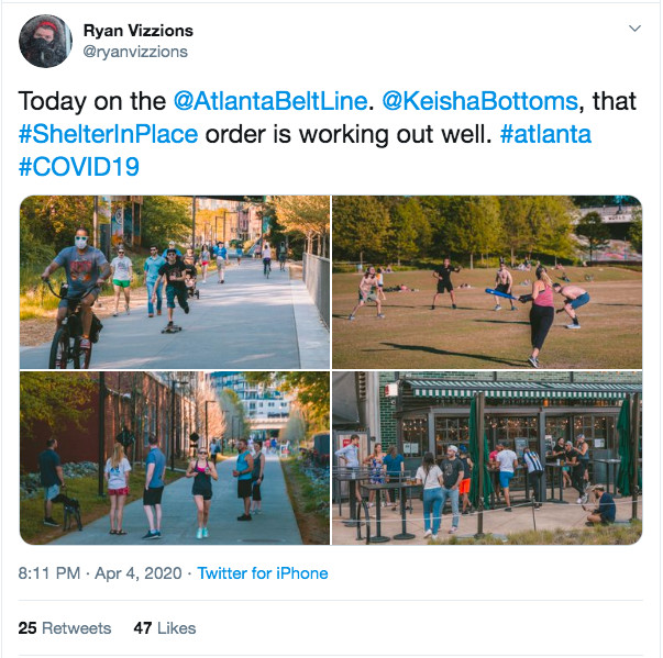 Screenshot of Twitter account of Ryan Vizzions showing four photos of people walking the Beltline and at Nina & Rafi in Atlanta on Saturday, April 4