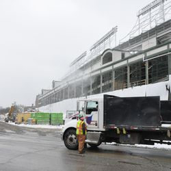 A truck arriving at the Clark Street work gate and awaiting instructions