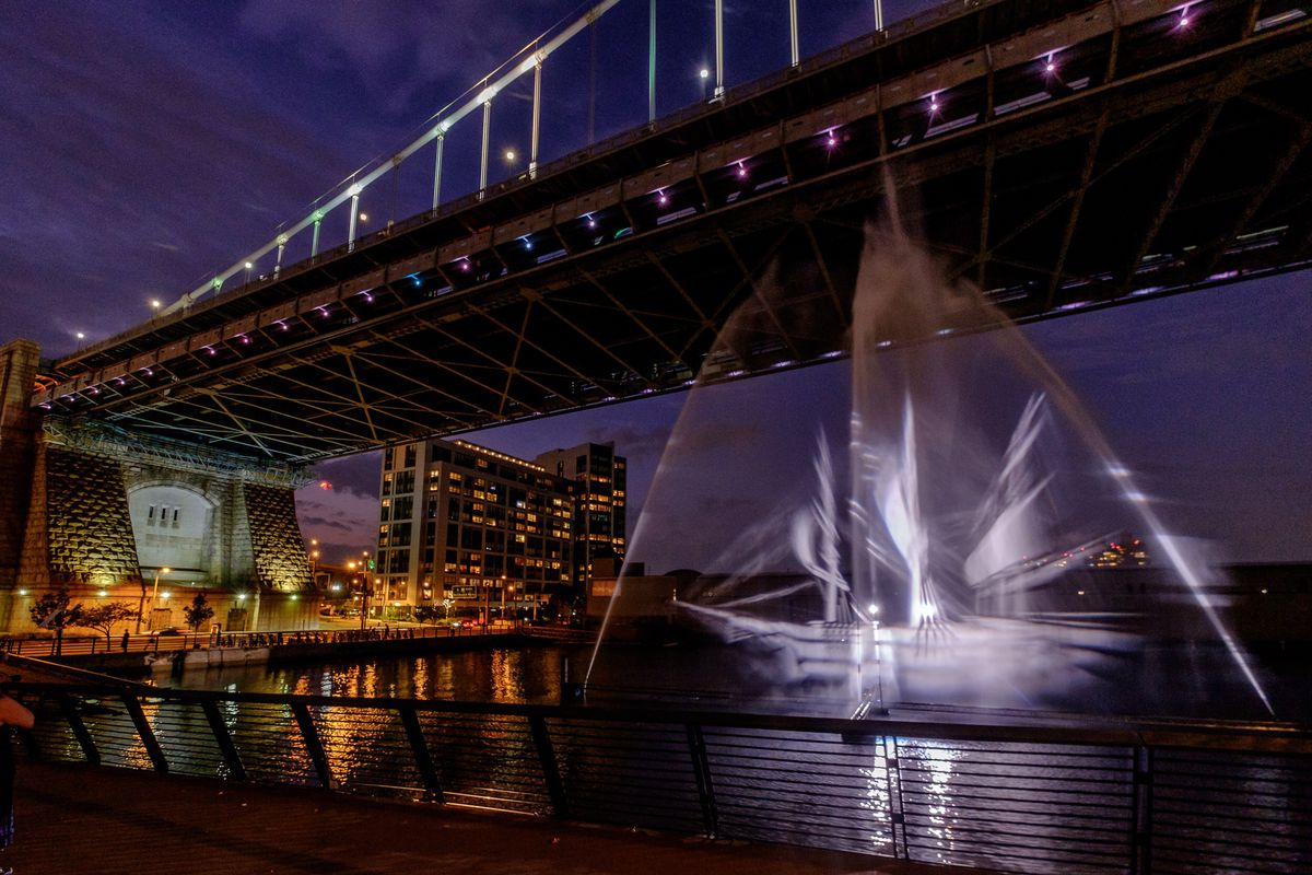 hologram of a ghost ship on a river
